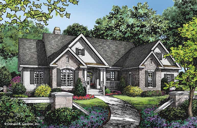 Check out the front rendering of The Astaire, home plan 1286.