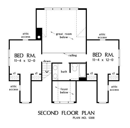 HOME PLAN #1288 – NOW IN PROGRESS - Second floor plan