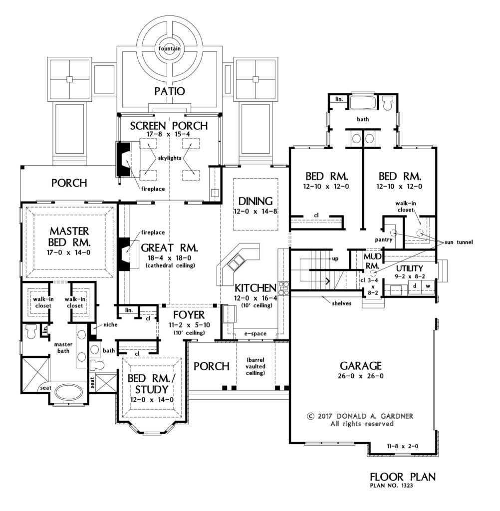 Check out the first floor plan of The Celeste, house plan 1323.