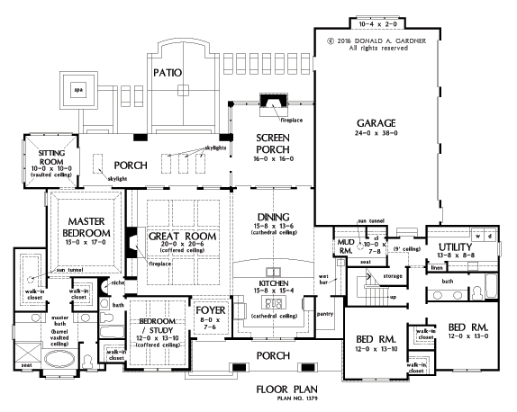 Check out the first floor plan of home plan 1379.