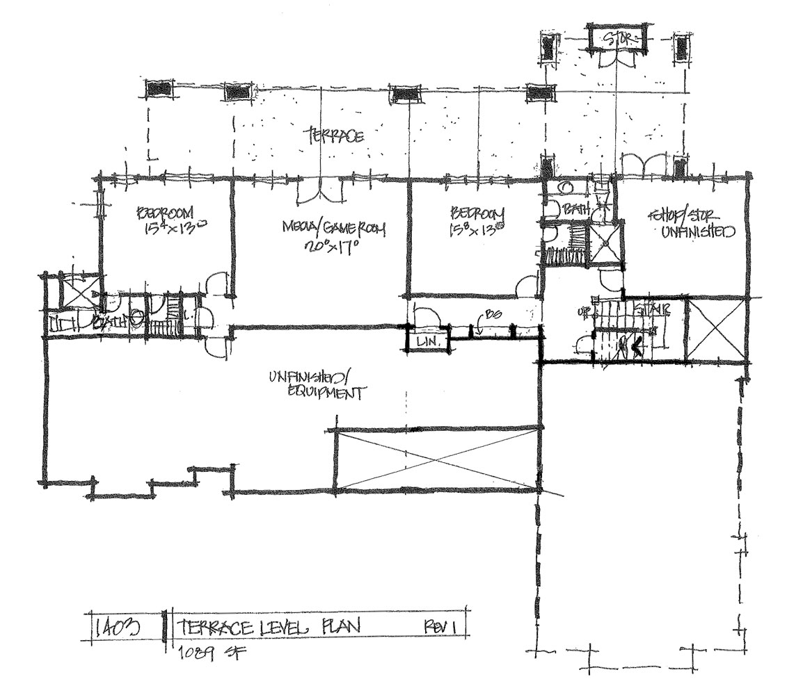 Check out the basement floor plan of conceptual design 1403.
