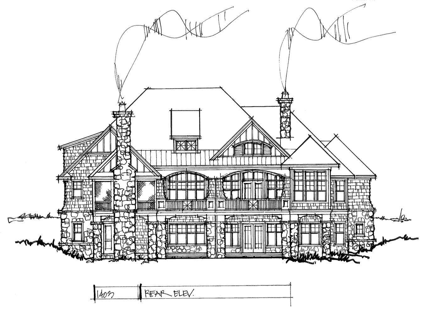 Check out the rear elevation of house plan 1403.