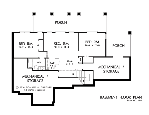 Home Plan 1414 - Basement floor plan