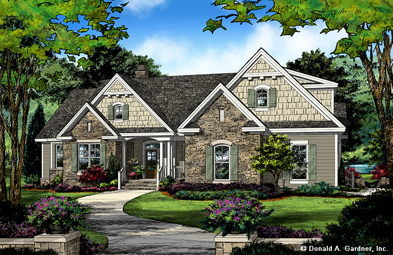 Home Plan 1414 - front rendering