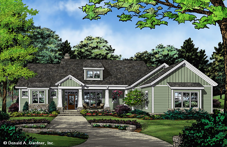 Check out the front rendering of home plan 1416, The Nelson.