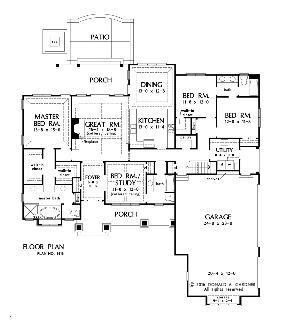 Check out the first floor plan of home plan 1416, The Nelson.