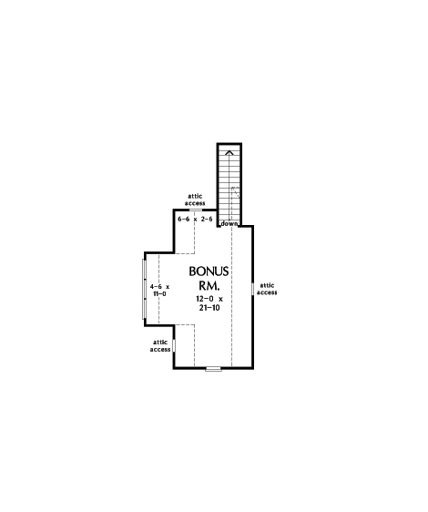 Check out the bonus room floor plan of home plan 1420, The Miranda.