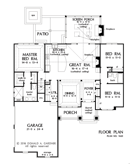 Check out the first floor plan of home plan 1420, The Miranda.