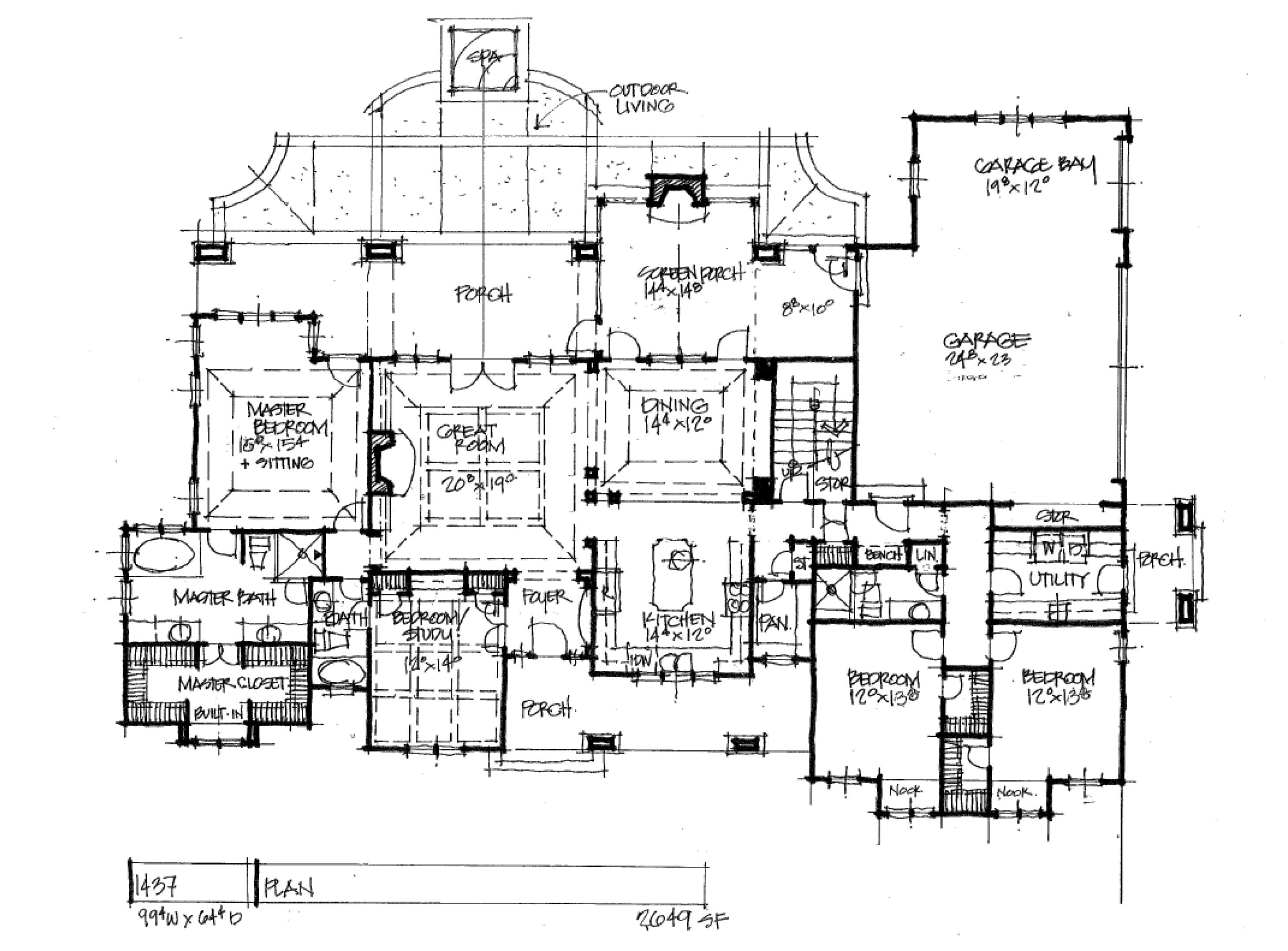 Craftsman house plan 1437 first floor plan
