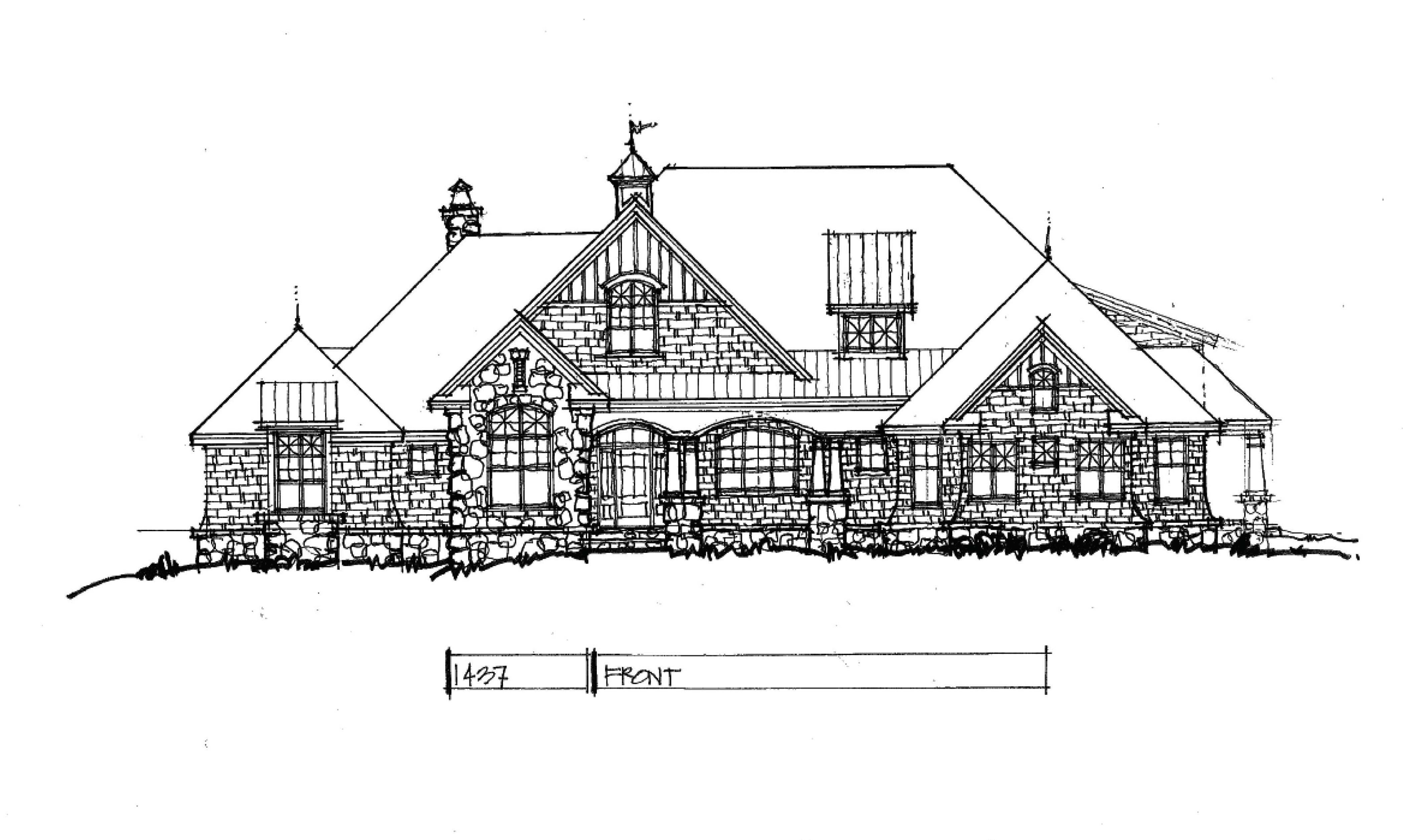 Craftsman house plan 1437 front rendering