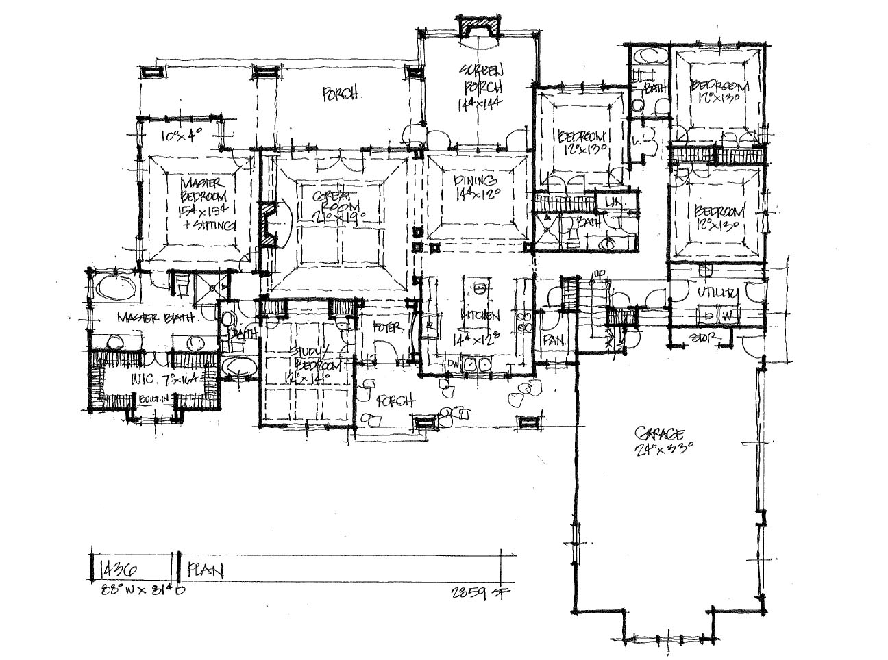 One-Story House Plan 1436 - First Floor