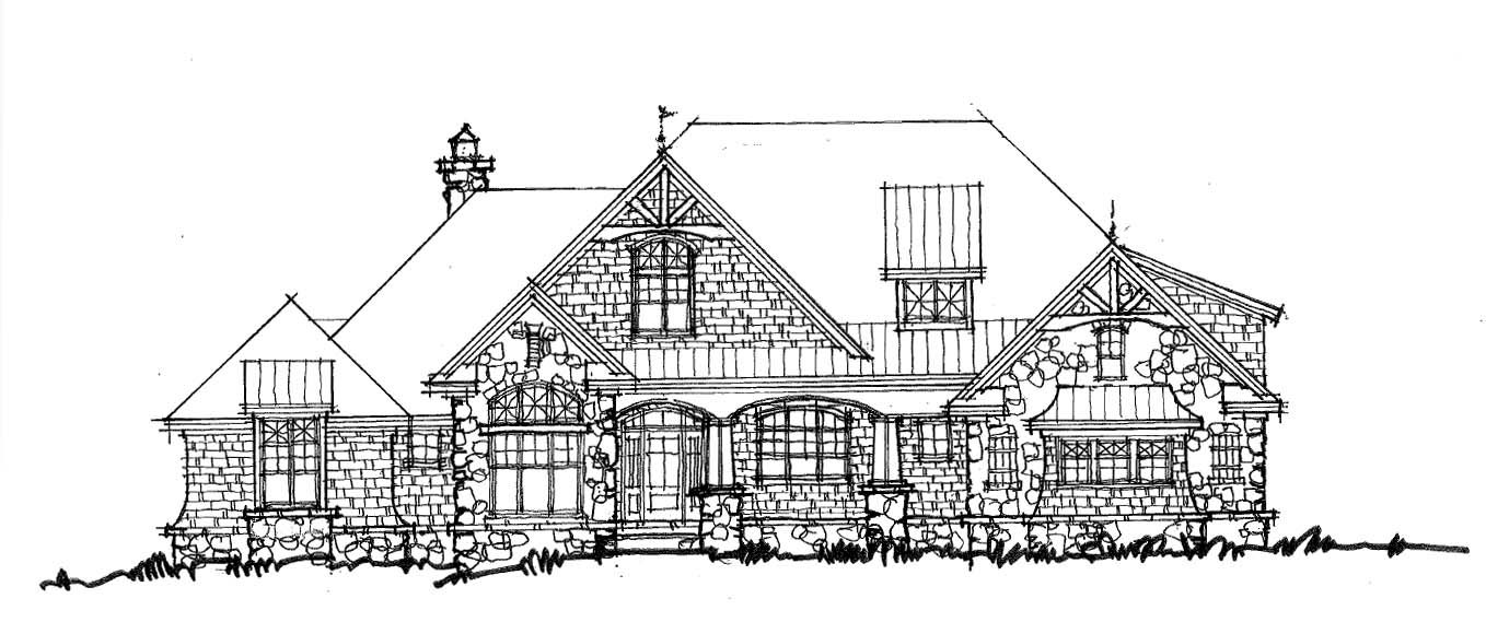 One-Story House Plan 1436 - Front Rendering