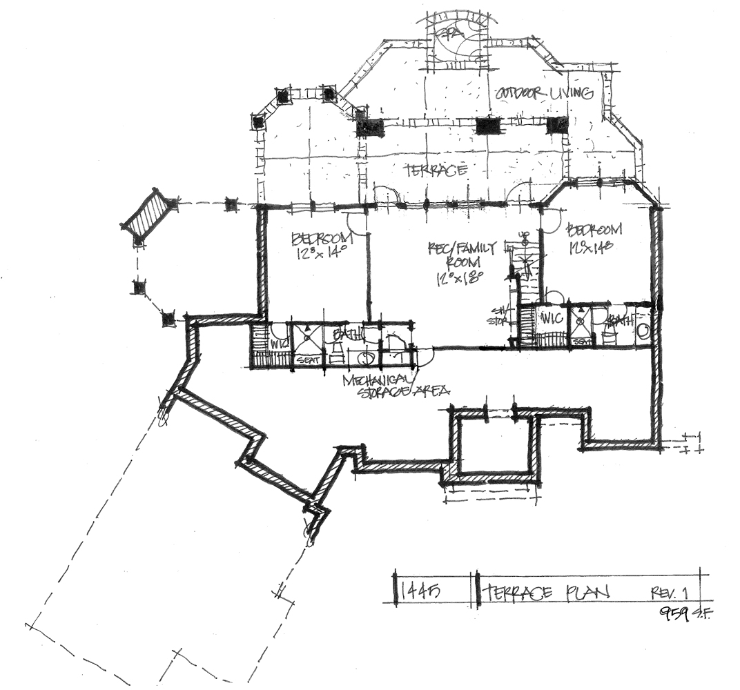 Check out the basement floor plan for home plan 1445.