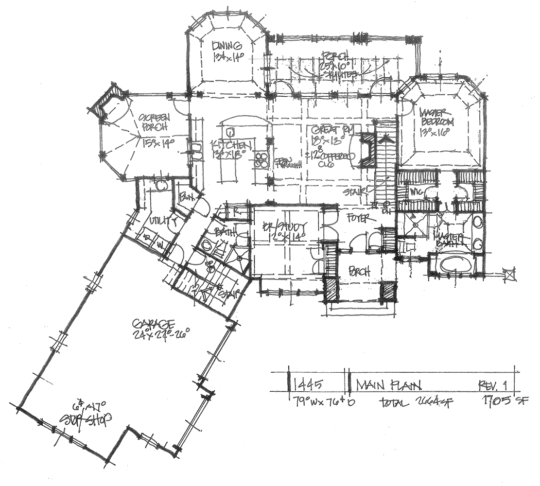 Check out the first floor plan of home plan 1445.