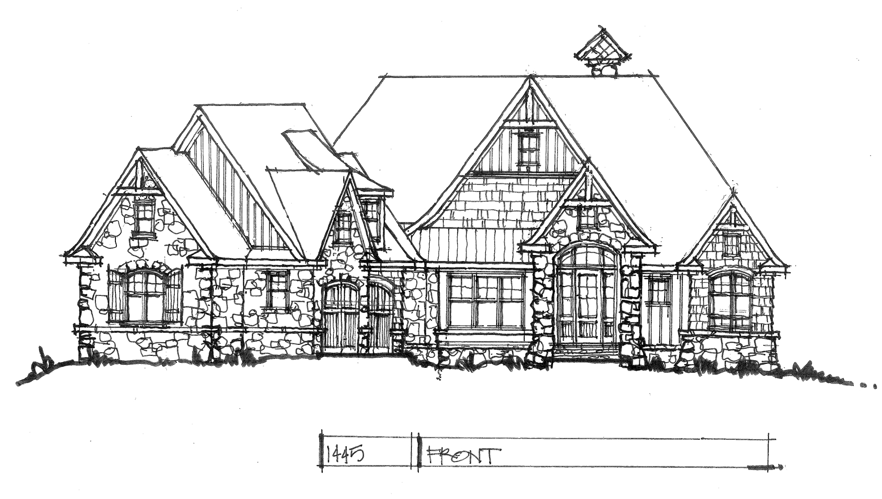 Check out the front elevation of home plan 1445.