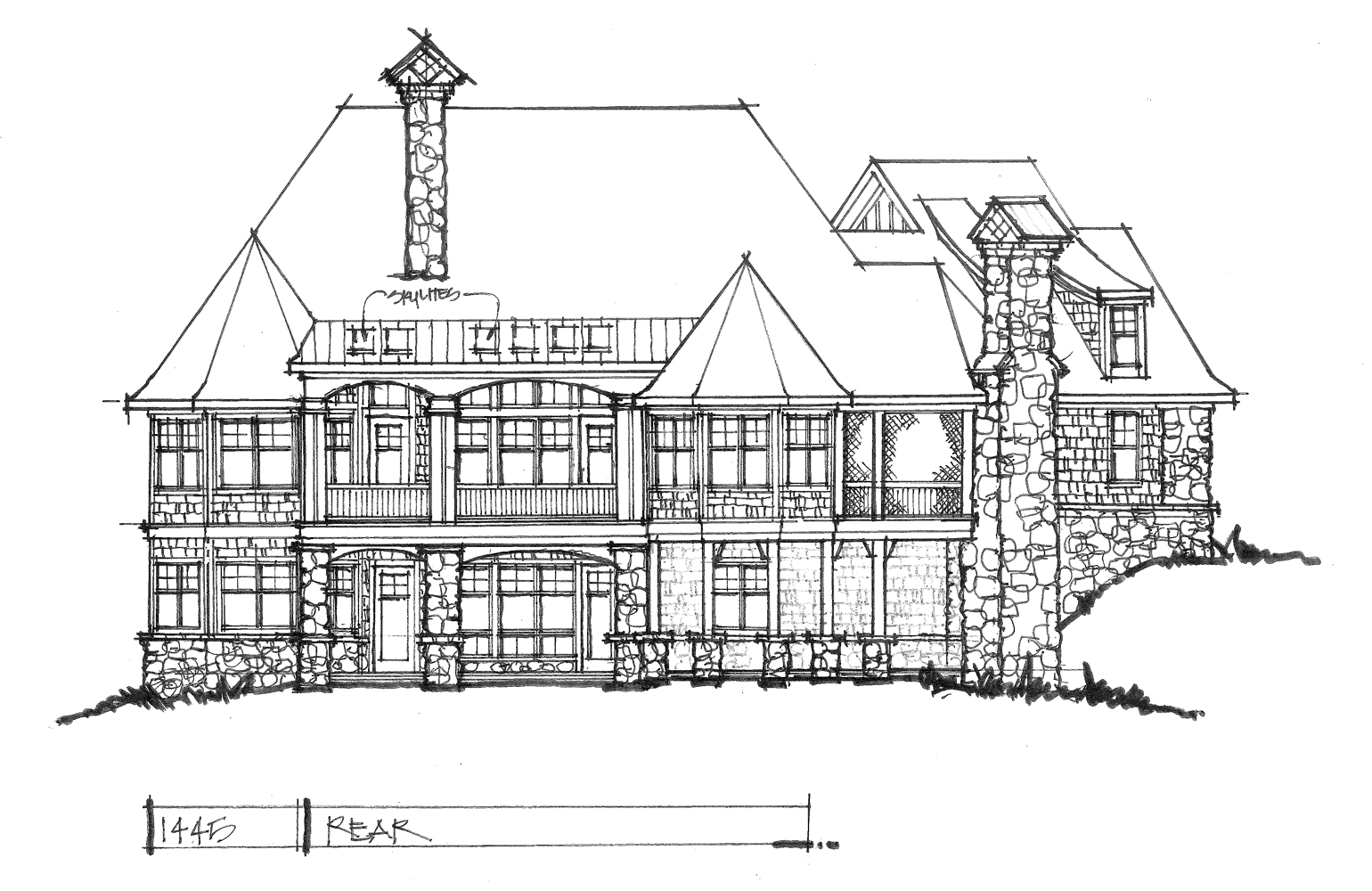 Check out the rear elevation of home plan 1445.