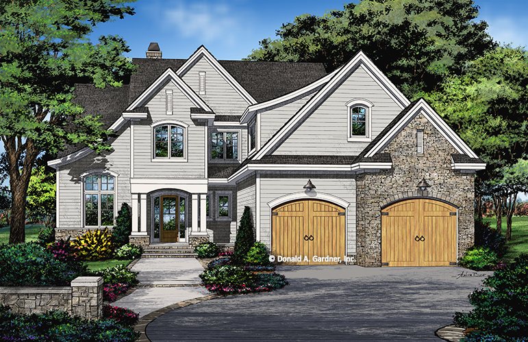 Check out the front rendering of house plan 1441, The Stella.