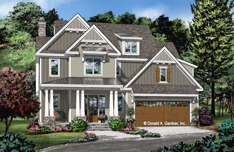 Check out the front elevation of The Lincoln house plan 1447.