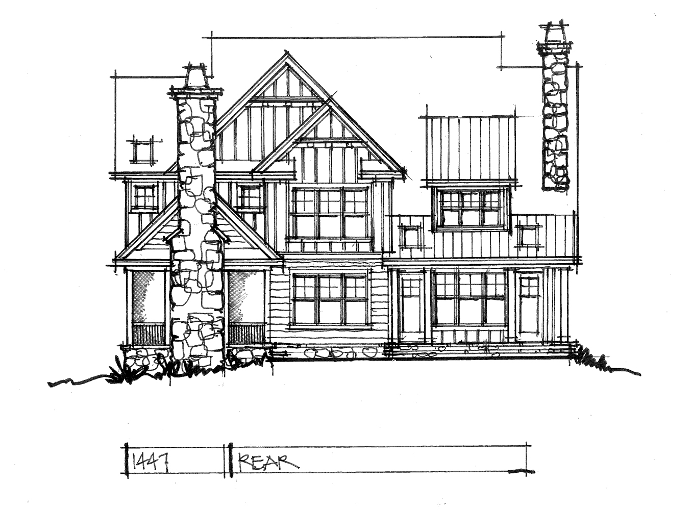Check out the rear elevation of house plan 1447.