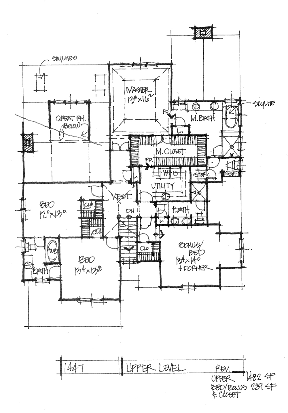 Check out the second floor plan of house plan 1447.
