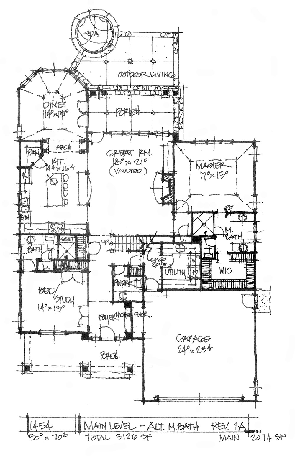 Check out the first floor alternative for house plan 1454.