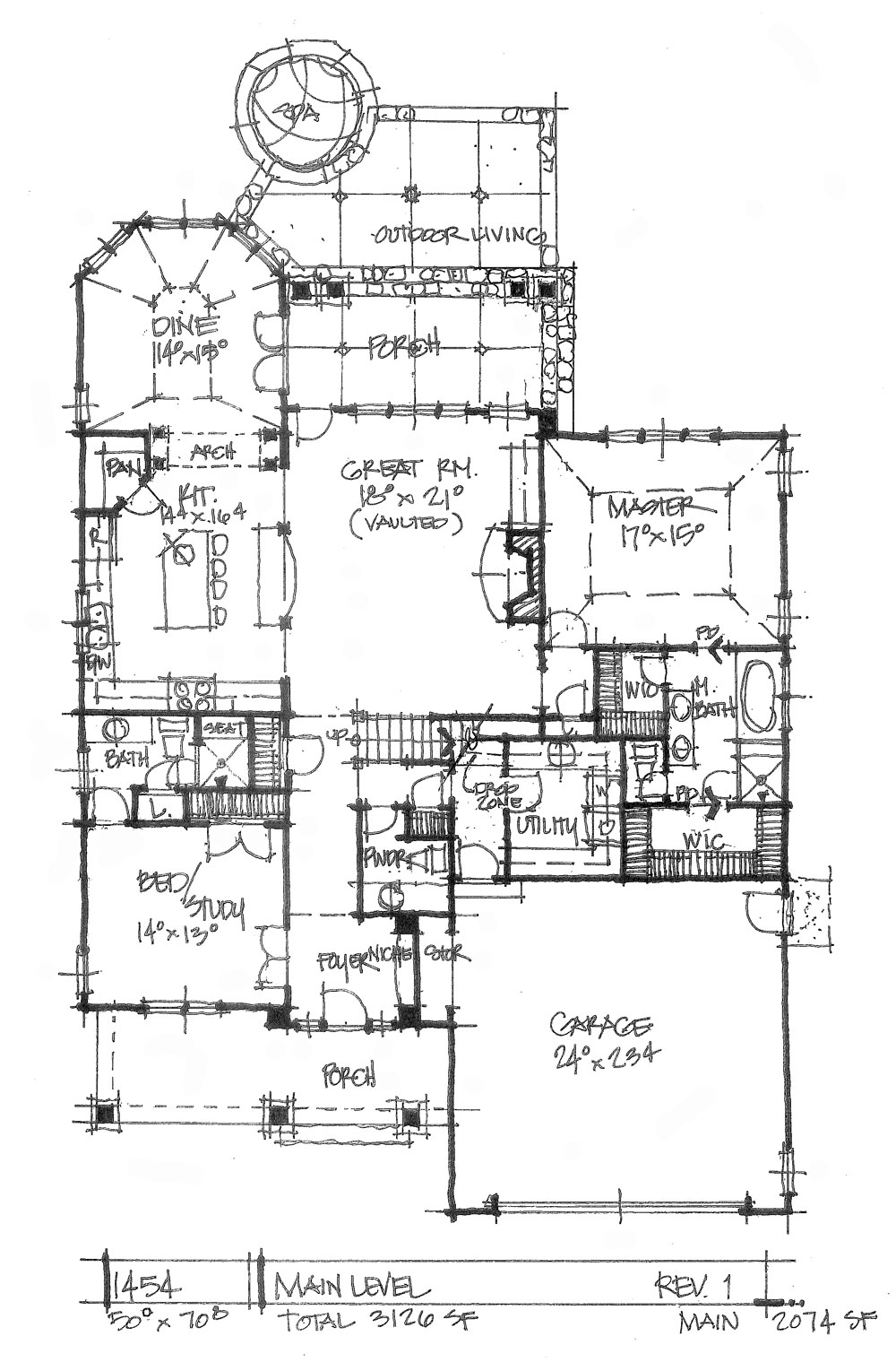 Check out the first floor plan of house plan 1454.