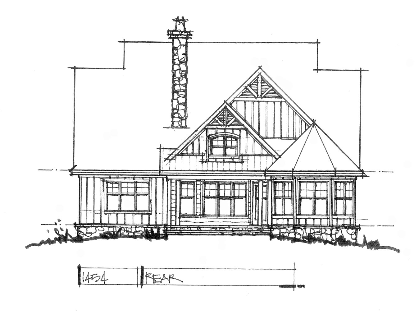 Check out the rear elevation for house plan 1454.