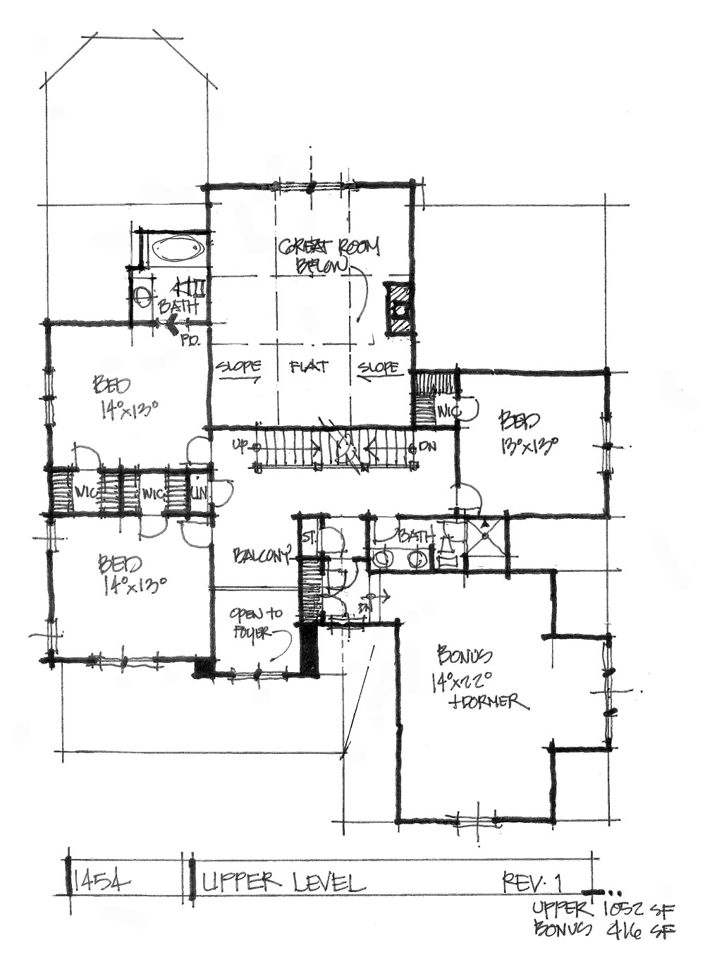Check out the second floor plan of house plan 1454.