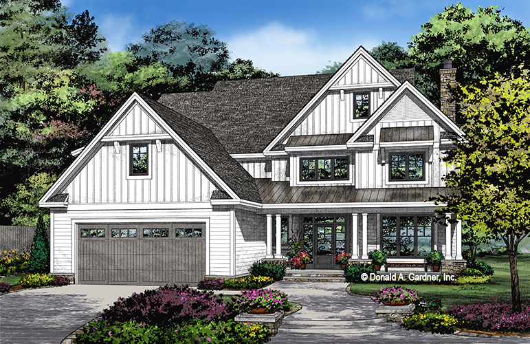 Check out the front rendering of house plan 1461, The Liam.