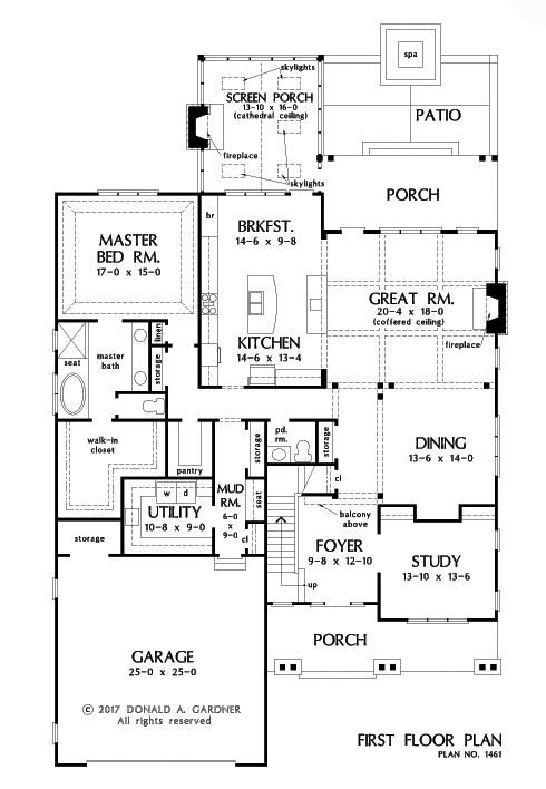 Check out the first floor plan of The Liam, house plan 1461.