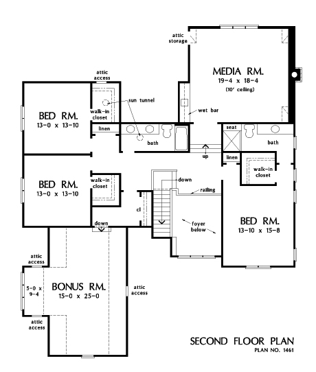 Check out the second floor plan of The Liam, house plan 1461.