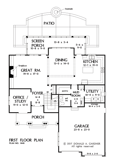 Check out the first floor plan of home design 1448, The Rawling.