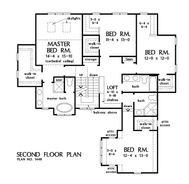 Check out the second floor plan of home design 1448, The Rawling.