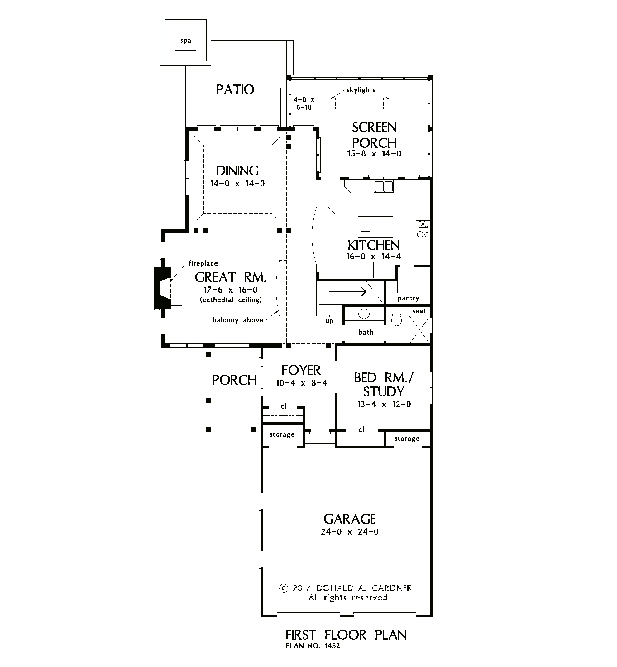 Check out the first floor plan of The Astrid, house plan 1452.