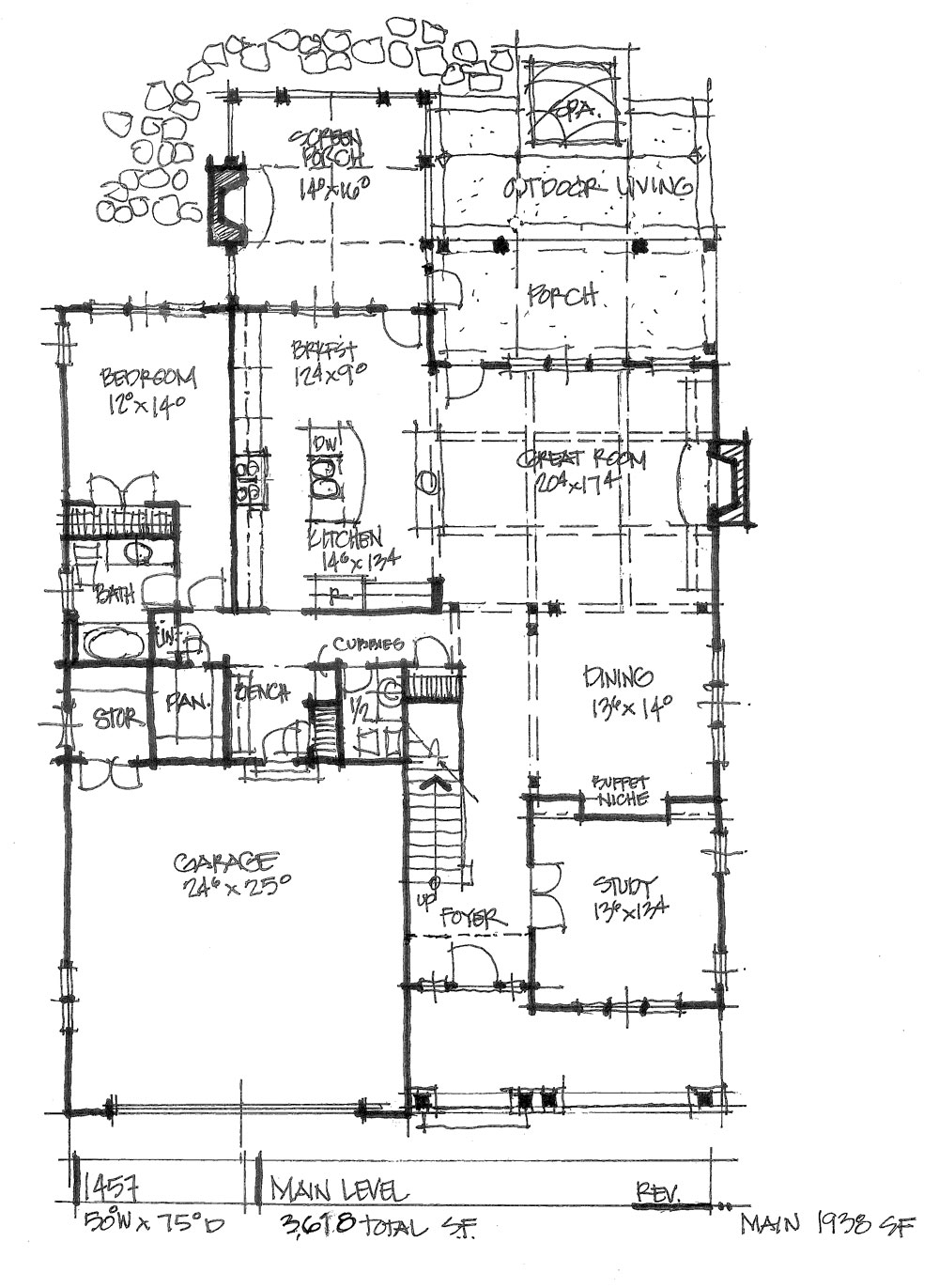 Check out the first floor plan of conceptual house plan 1457.
