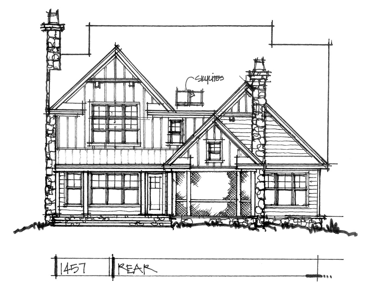 Check out the rear rendering of conceptual house plan 1457.