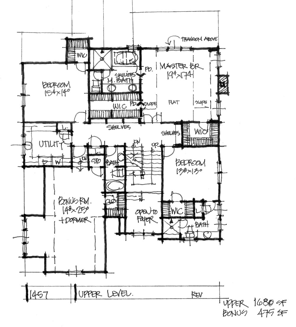 Check out the second floor plan of conceptual house plan 1457.