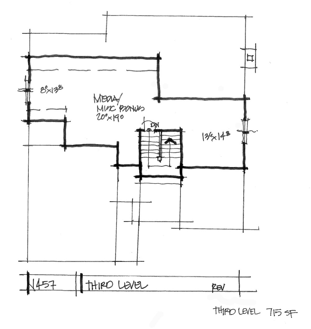Check out the third floor plan of conceptual house plan 1457.