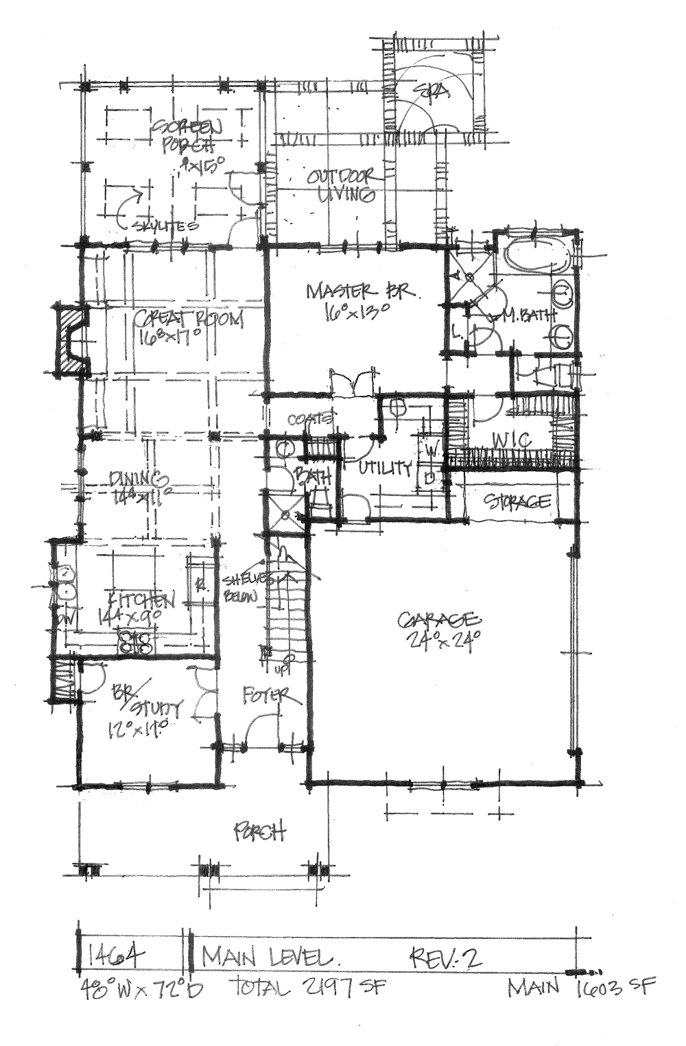 Check out the first floor plan of house plan 1464.