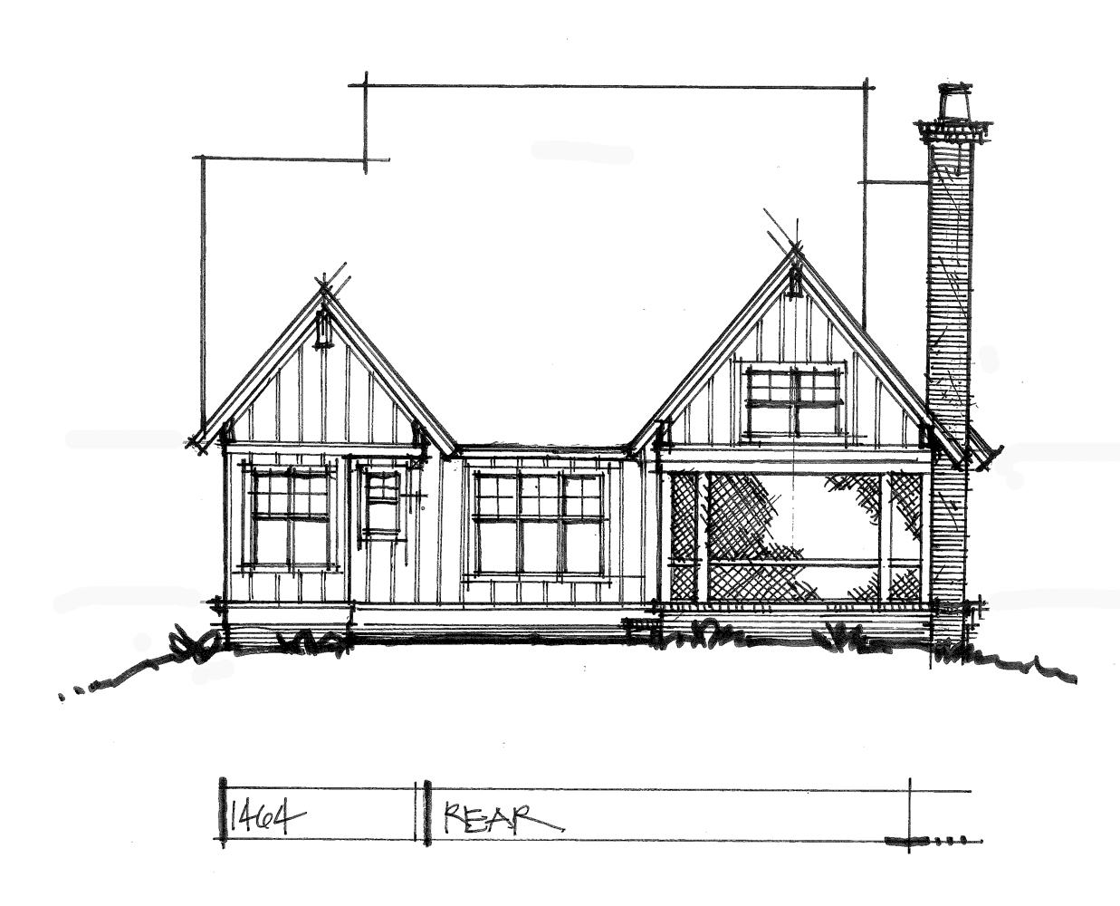 Check out the rear rendering of house plan 1464.