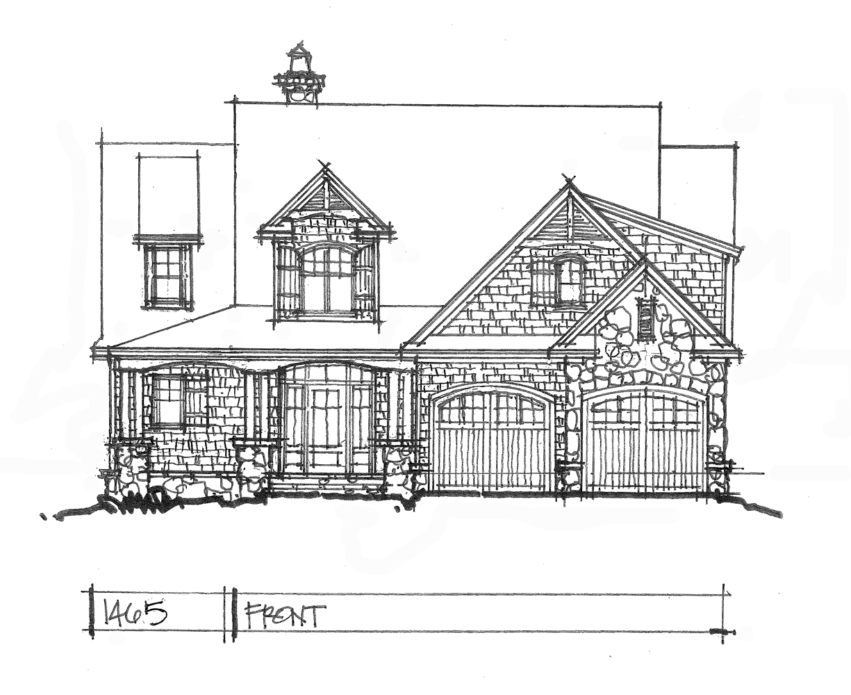 Check out the front rendering of house plan 1465