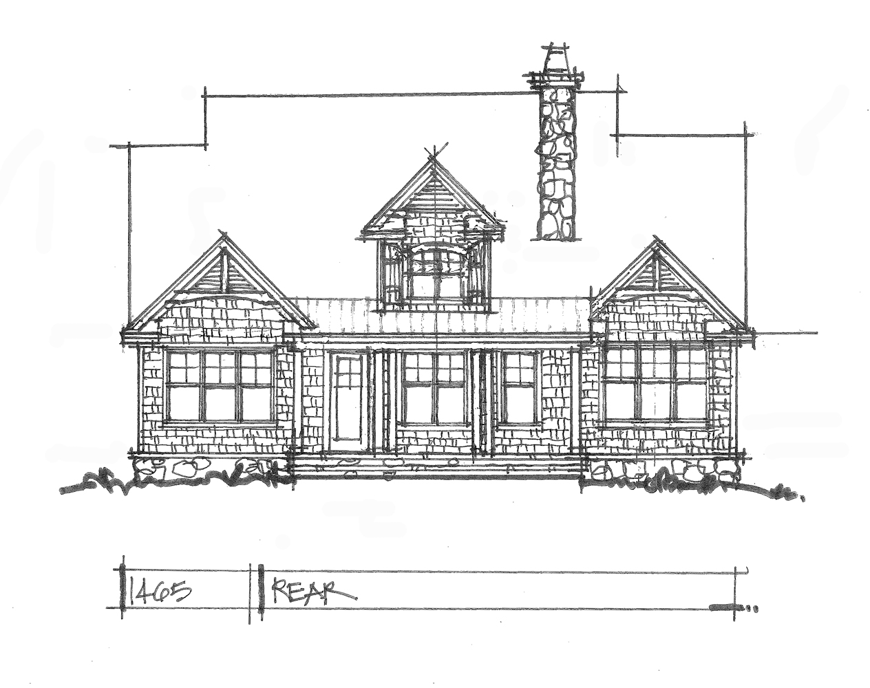 Check out the rear elevation of house plan 1465.