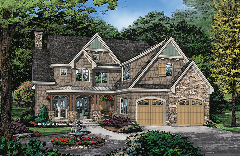 Check out the front rendering of home design 1448, The Rawling.