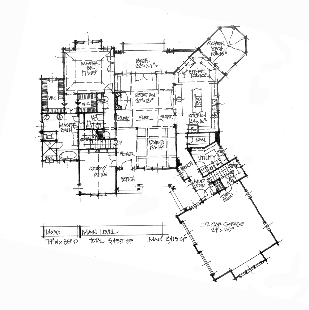 Check out the first floor plan of conceptual house plan 1456.