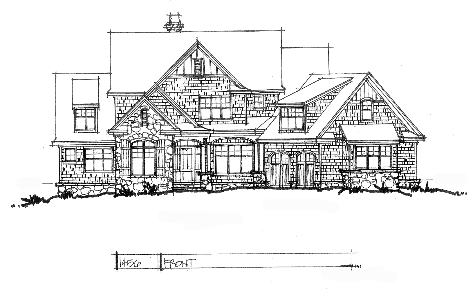 Check out the front elevation of conceptual house plan 1456.
