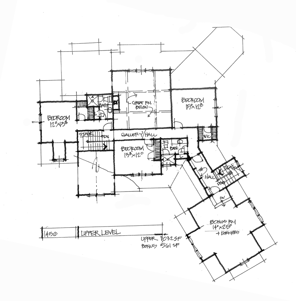 Check out the second floor plan of conceptual house plan 1456.