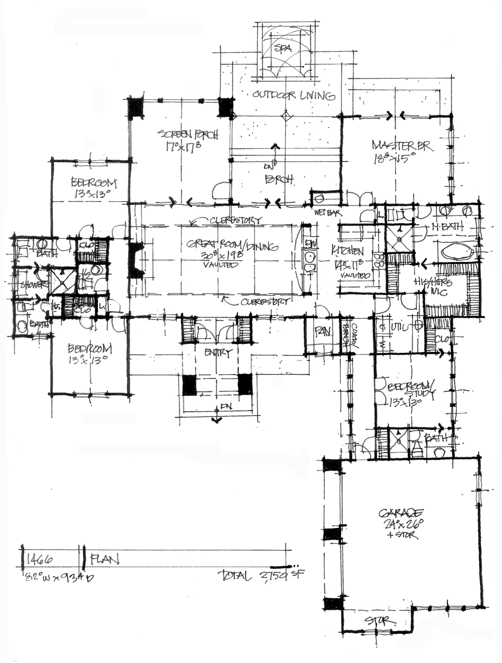 Conceptual house plan 1466 is an urban ranch design.