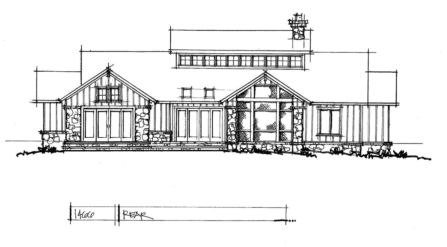 Check out the rear elevation of house plan 1466.