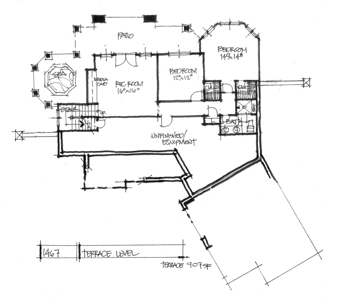Check out the basement floor plan of house plan 1467.