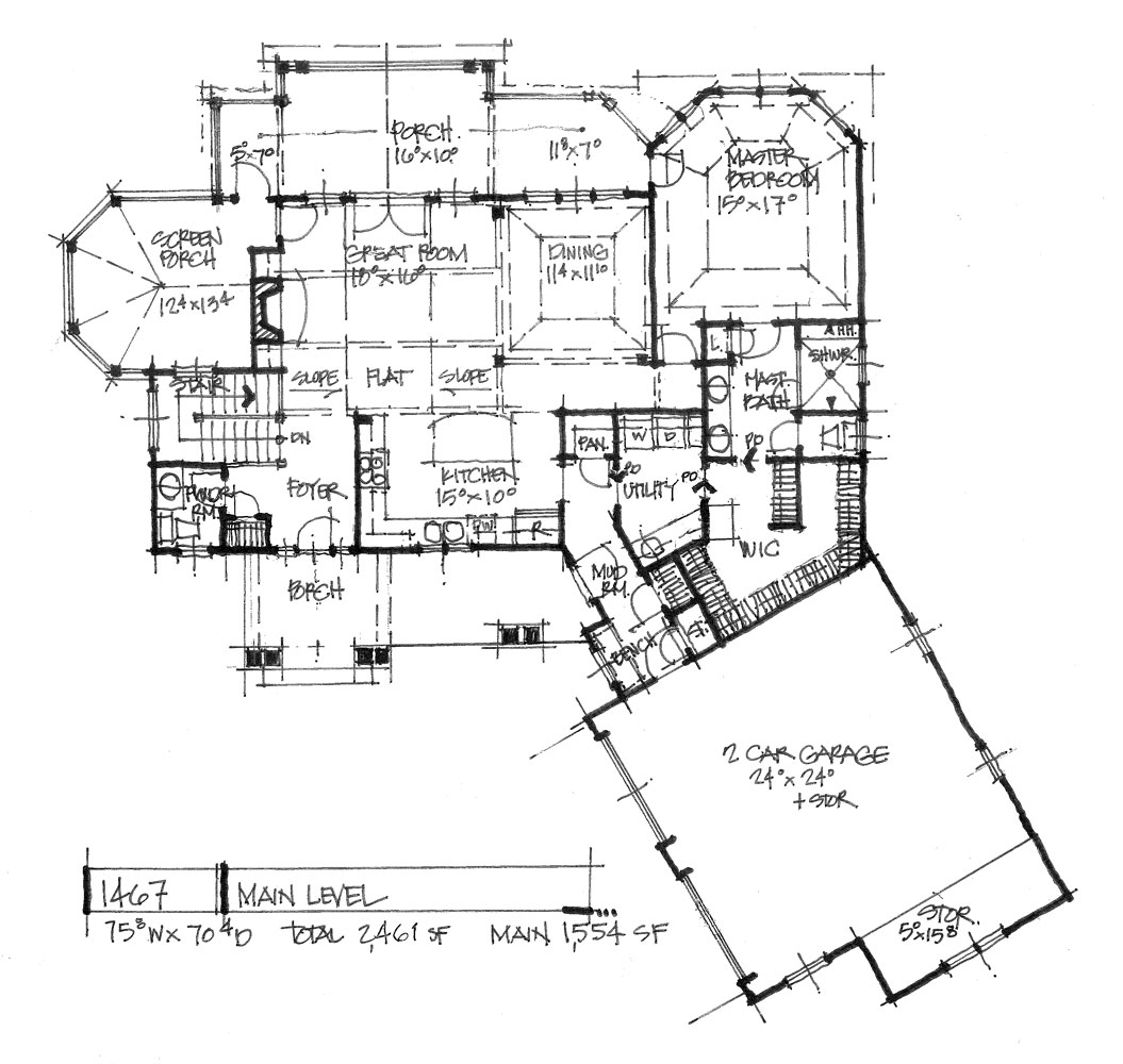 Check out the first floor plan of house plan 1467.